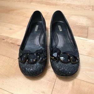 Miu Miu black glitter stone flat 36